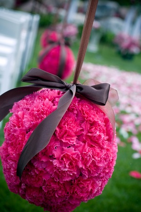 Carnation ball centerpieces to match For 7 tables Thanks